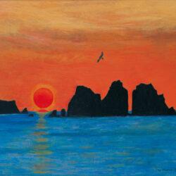 Sunrise of Santo-zan in Funagoshi
